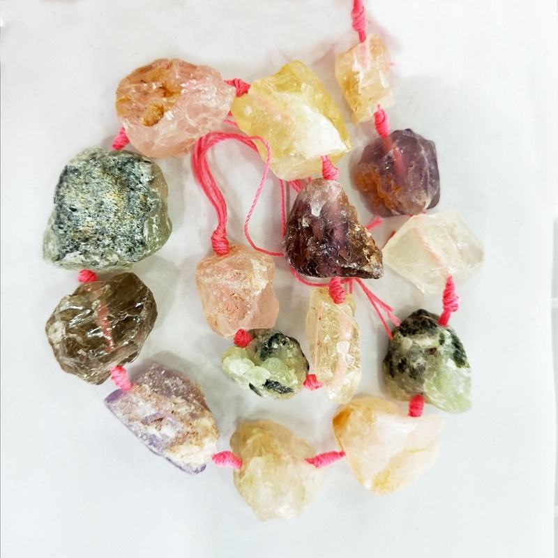 Raw Nugget Multi Bead Strands Large crystal quartz Big Size Chunky Gemstone Rough mixed bead 15.5 inch per strand charm