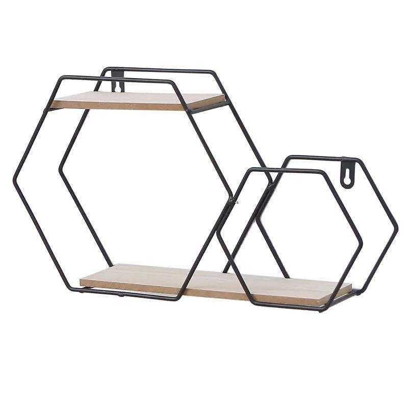 Modern Design Hexagon Nordic Wall Shelf Metal Rack Storage Shelf With Solid Wood Flower Pot Metal Shelf On The Wall