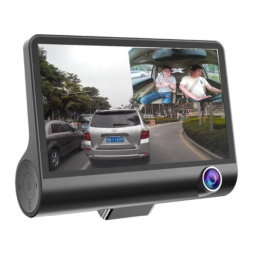 Full HD Car DVR 3 Cameras Lens 4.0 Inch Wide Angle Car Dash Camera Dual Lens with Rearview Camera Video Recorder