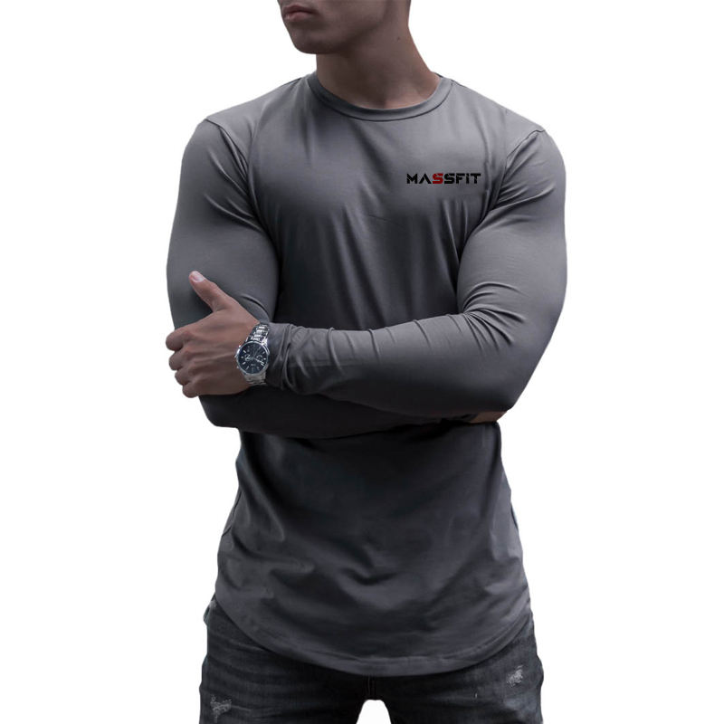 Slim Fit High Quality Gym Men Curved Hem Sports Long Sleeve T Shirt