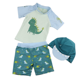 Baby Toddler Boys Two Pieces Swimsuit Set Boys Dinosaur Bathing Suit Rash Guards with Hat UPF 50+