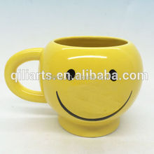 yellow smiley face mug ceramic cheerful mugs