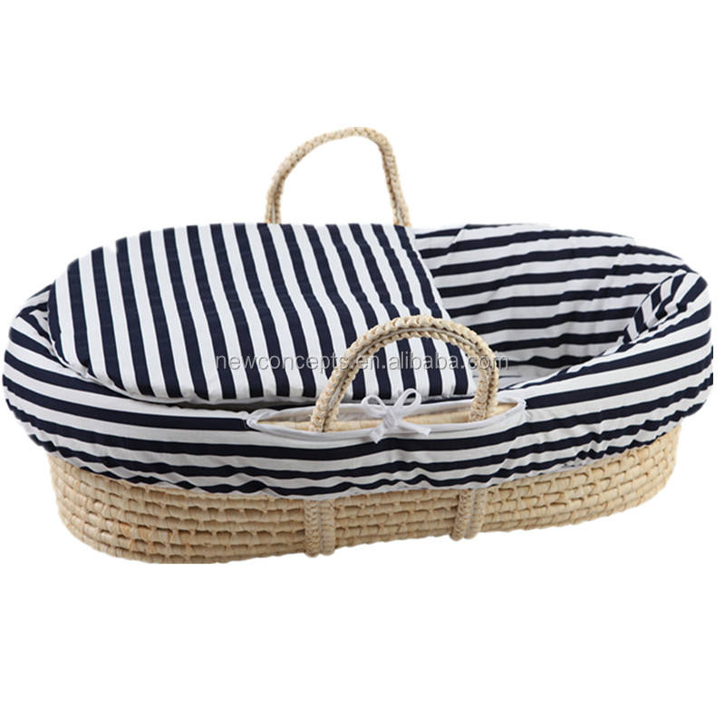 Wholesale handmade straw woven baby moses basket crib