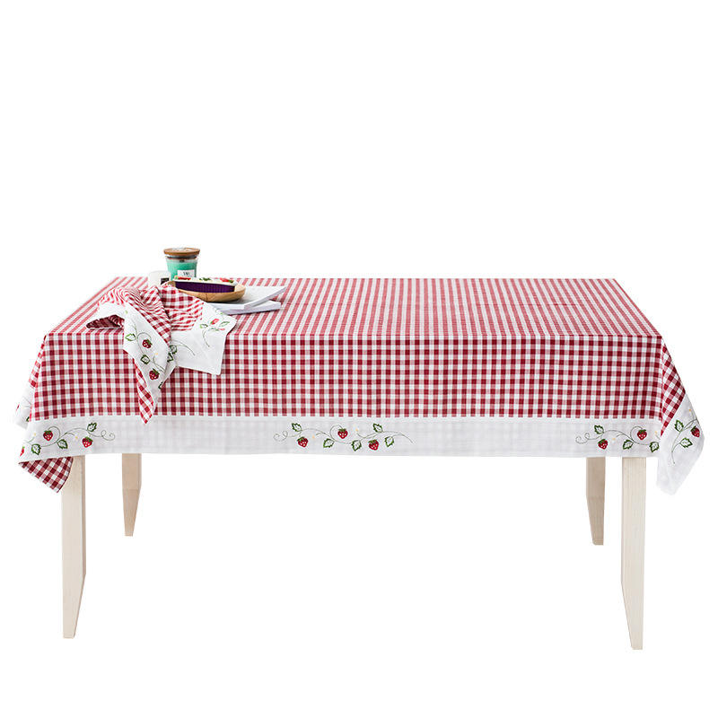 Yutong Floral Embroidery Lattice Plaid Tablecloth Rectangular Dust-Proof Table Cover For Dining Room Kitchen Balcony Tea Cafe