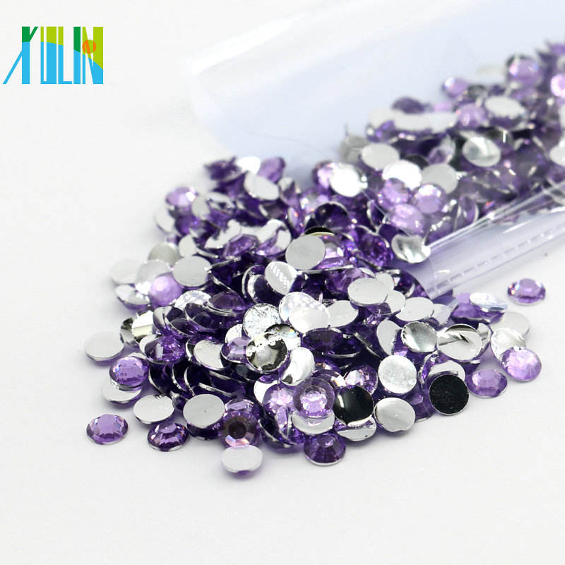 XULIN China Supplier Jewelry Beads Flat Back Resin Stone for Nail Art Decorate, D020 Lt.Amethyst