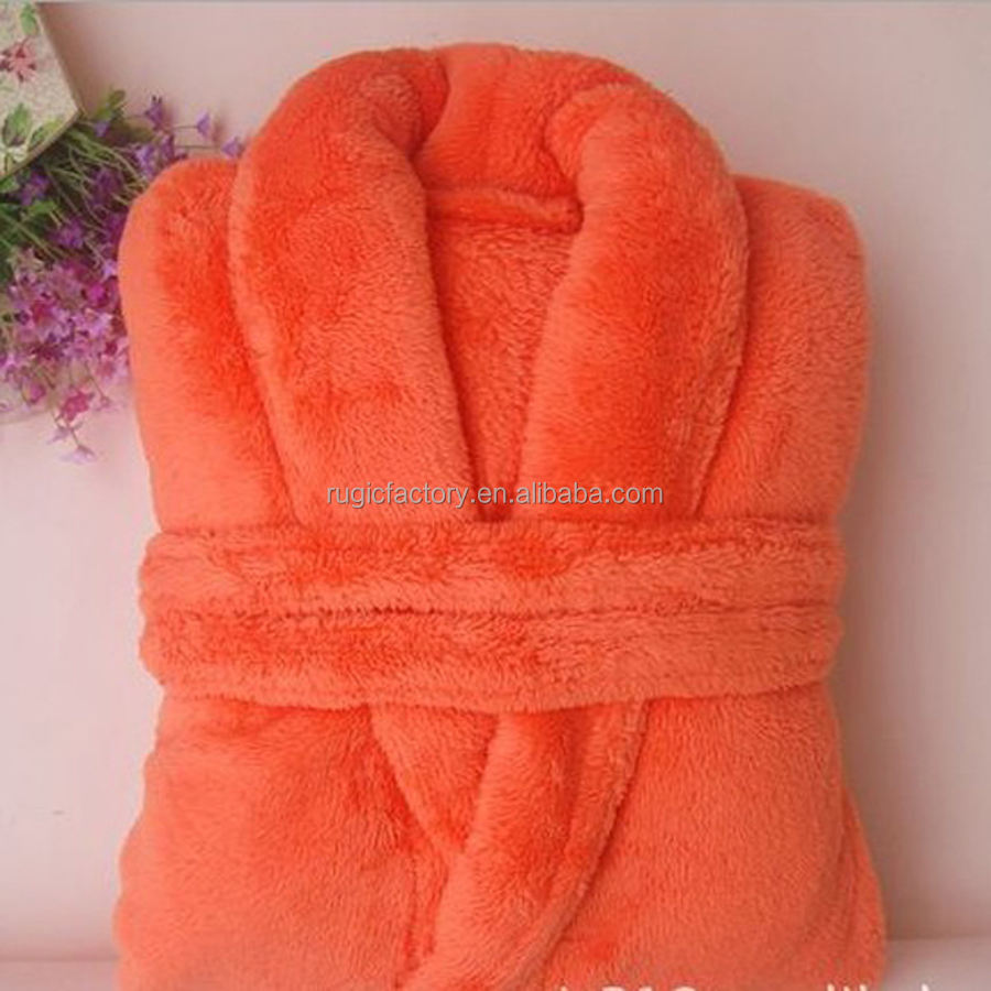 coral fleece robe 100% polyester plush bathrobe women printed sleepwear