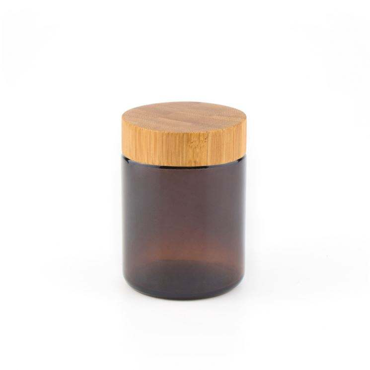 Unique Cosmetic Package Frosted black Glass Jar With Bamboo Lid