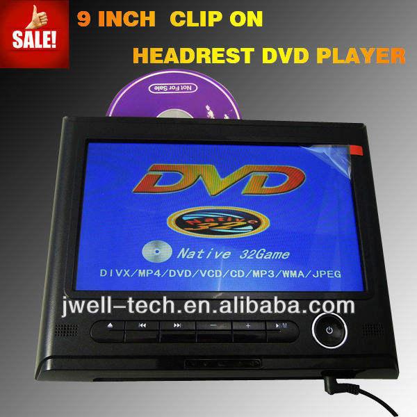 2014 9 ativo polegadas encosto de cabeça dvd player, encosto de cabeça dvd player