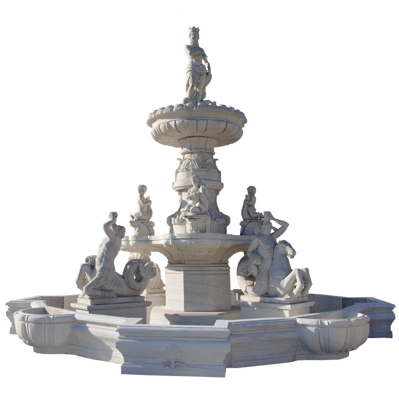 Hand carved white marble water fountain