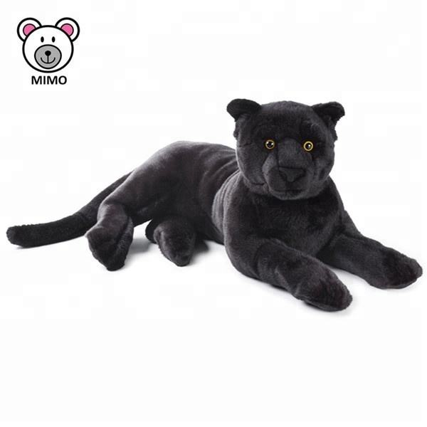 LOW MOQ Stuffed Wild Animal Plush Black Leopard Toy For Kids Handmade Cartoon Custom LOGO Lifelike Soft Plush Black Panther