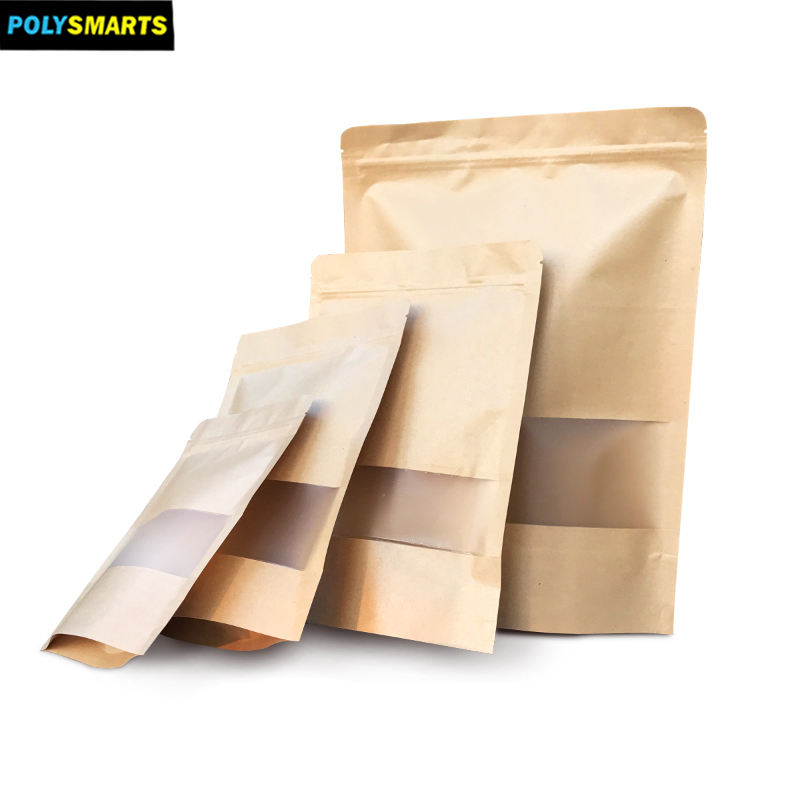 Stand Up Kraft Paper Pouch Plastic Paper With Window Dried Food Packaging