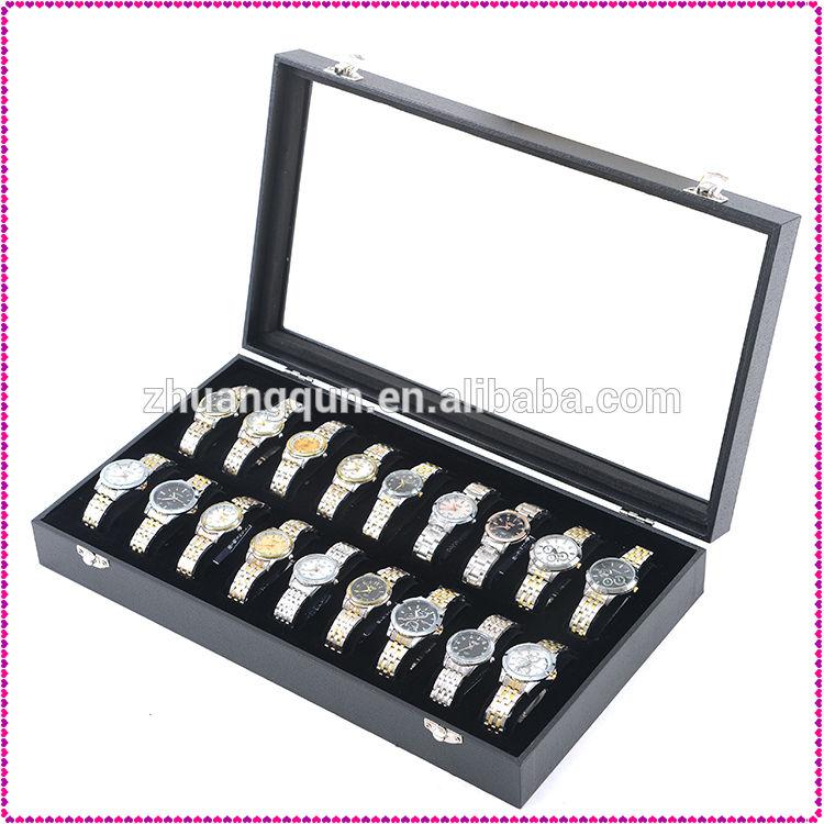 Precio barato 18 Slots caja de reloj negro con C forma de círculo, reloj muestran cartón