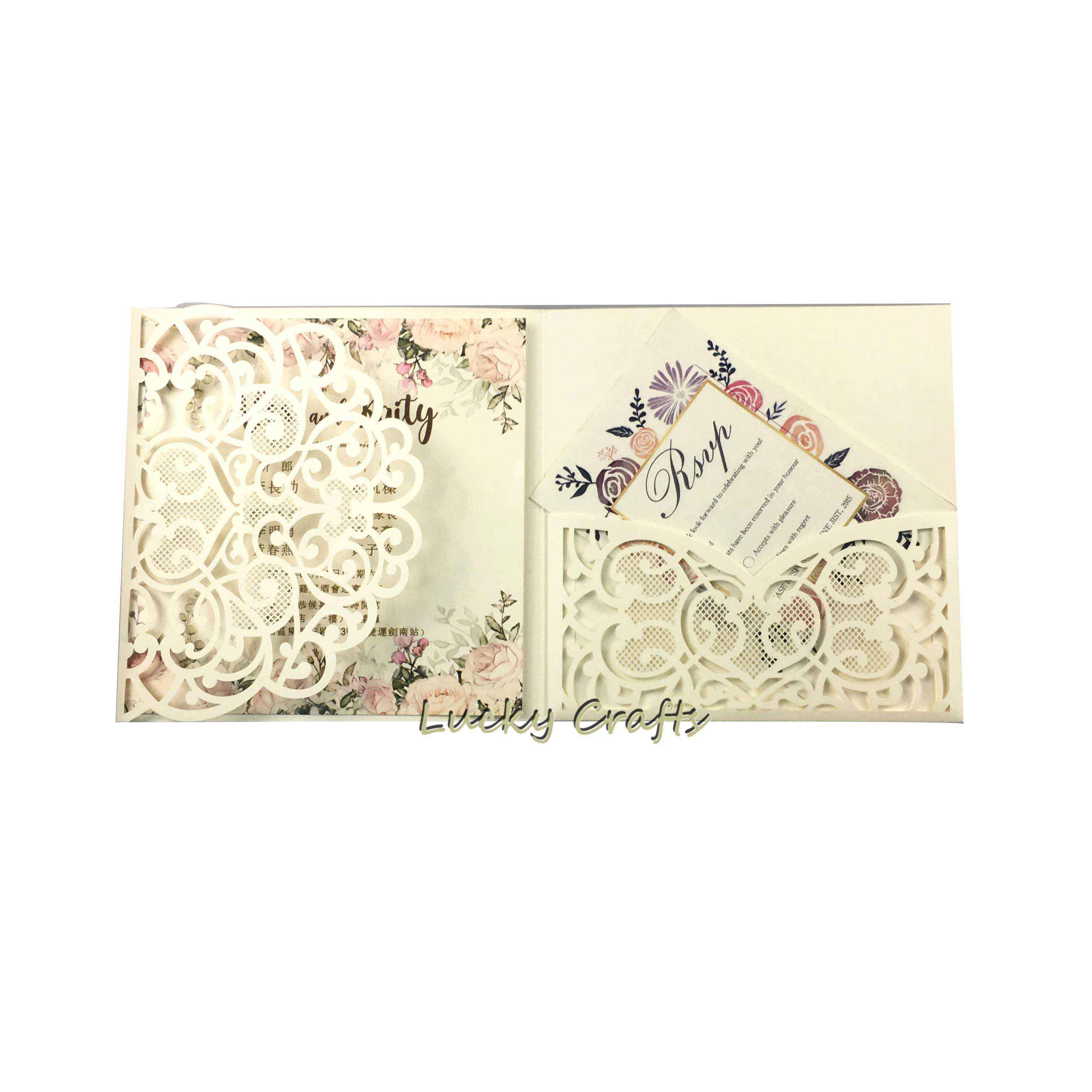 Laser Cut lace pearl ivory paper Wedding Invitations card Square tr-ifold Cards Greeting Gift Pocketfold invite cover for party
