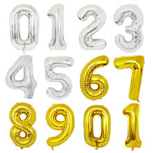 New 42 Inch Number Golden Silver Foil Balloons Numbers Large Helium Balloons For Baby Shower Birthday Balloons Party Supplies