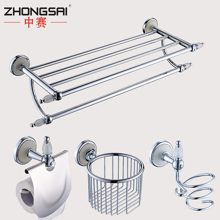 Chrome and Dull Polish Wall Mounted Bathroom accessories towel holder set with Soap holder