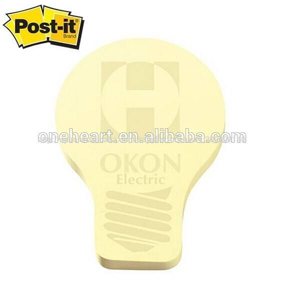 Amarillo la luz bombilla en forma de notas adhesivas/post- it