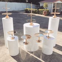 White Acrylic - Round Pedestals and Plinth With Customized Size