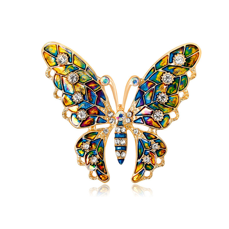2019 newest multi color enamel butterfly pin brooch for dress