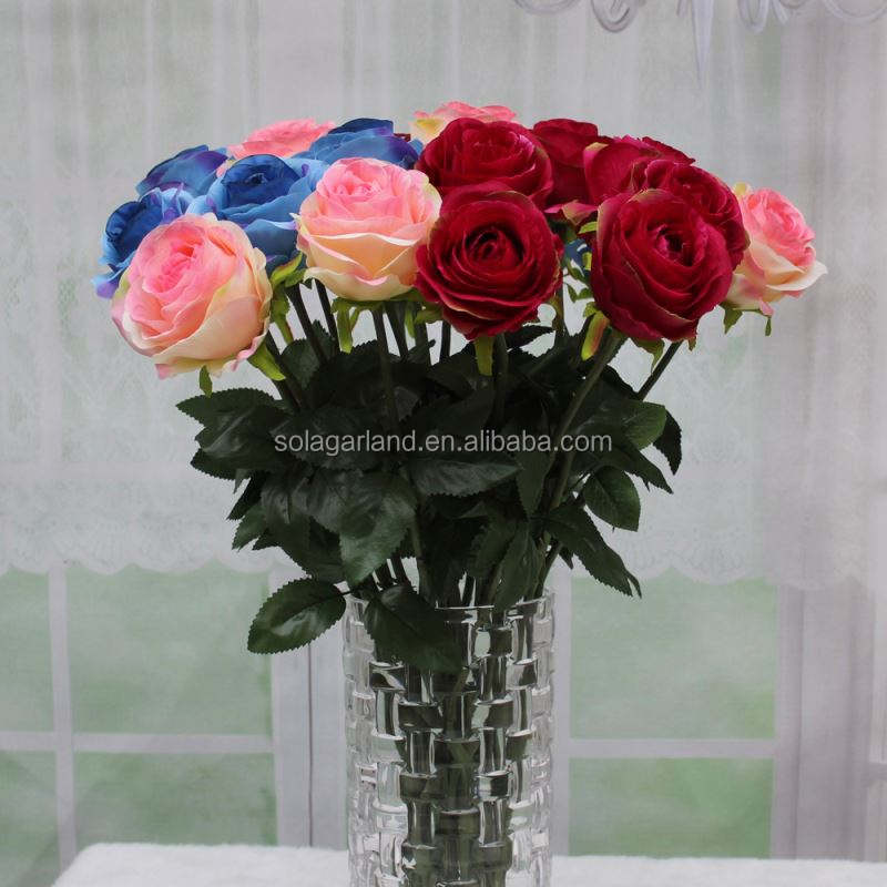 High Quality 58cm Long Natural Touch Red Rose Artificial Flowers For Home Table Decoration