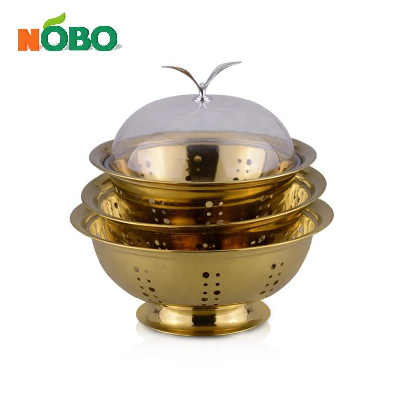 Colorful Design Stainless Steel Round Fruit Candy Bowl with Lid