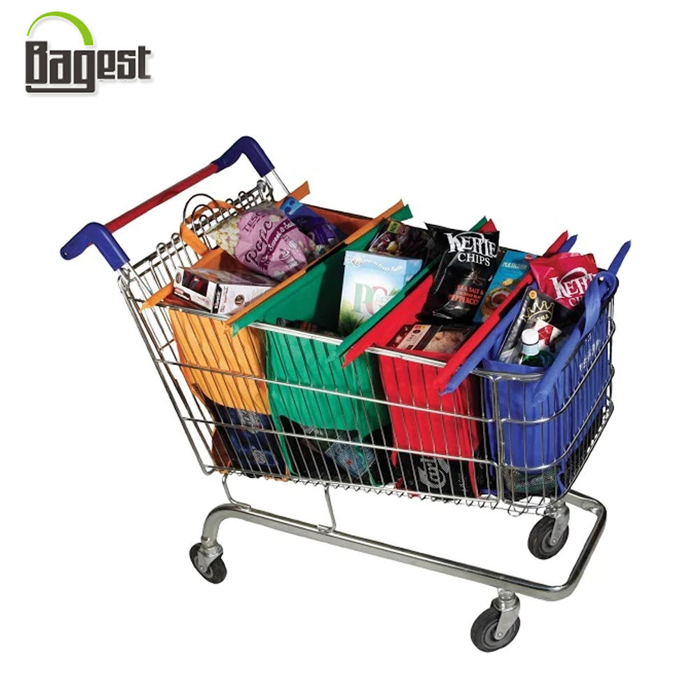 BSCI Audit Foldable 420D Polyester Supermarket Trolley Bag for Shopping
