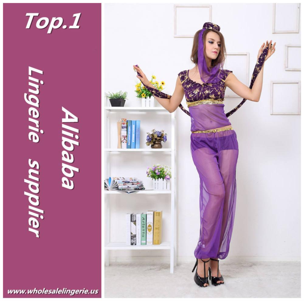fantasia viola in chiffon sexy pantaloni trasparenti 3 pezzi sexy costume egiziano la festa di ballo per le donne