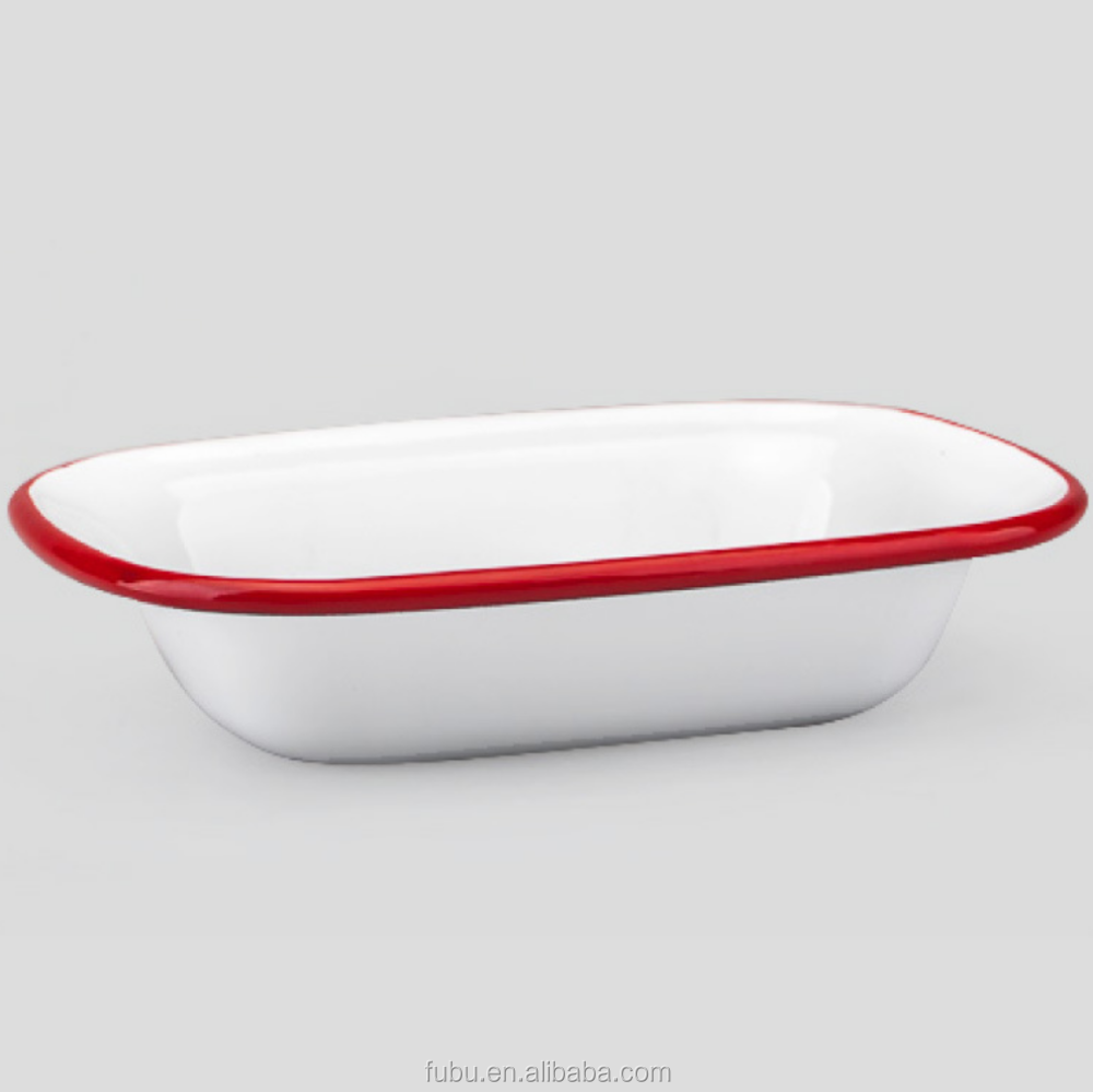 with 16/18/20/22/24/26/28cm , Rolled rim enamel metal dishes with colors