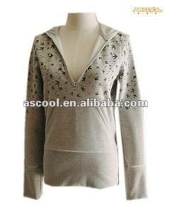 Mới Đến 100% Cotton Jersey Knit Lông Cừu Phụ Nữ Hoody