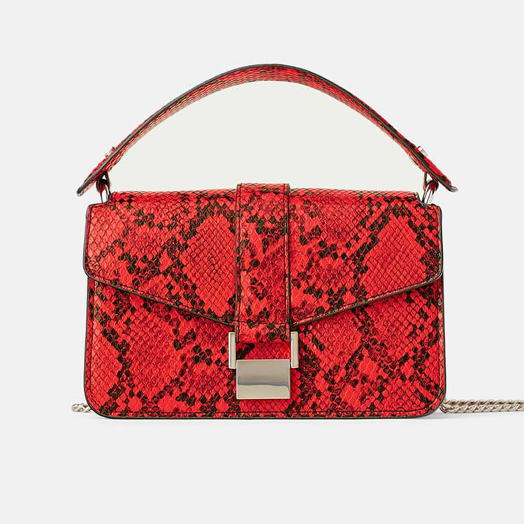 custom red snake skin python print ladies snakeskin leather crossbody bag women handbags purse