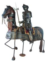 Bronze Armored Knight and Horse with Jousting LanceMedieval Sculpture