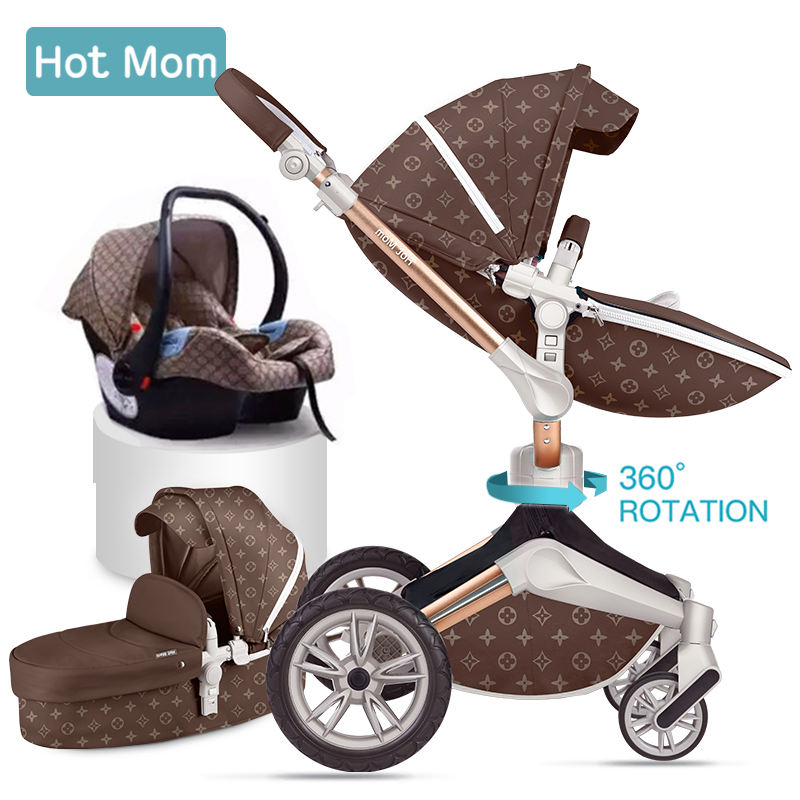 Hot Mom 360 Rotation Baby Stroller Wheelchair Accessories 3 in 1 Pram Limited Version Luxurious Pattern