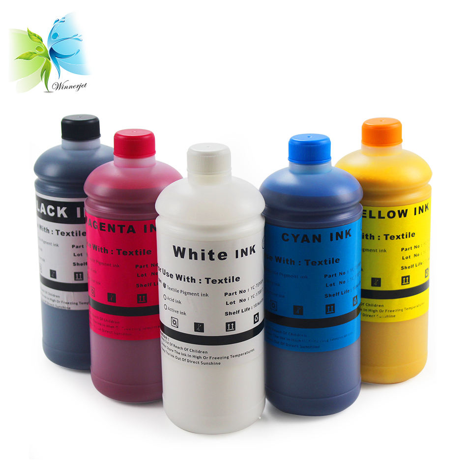 WINNERJET DTG digital textile printing pigment ink for Epson DX5 DX7 printheads direct to garment cotton T shirt printing ink