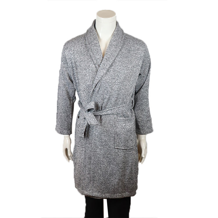 wholesale Men's knitted microfiber shawl collar bathrobe