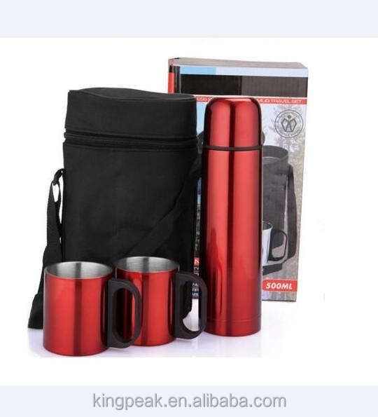 2019 Hot Sale stainless steel thermos coffee mug gift set/insulated thermos coffee flask with travel bag/Promotion Thermos mugs