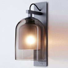 nordic frosted glass smoke sconce wall lamp for bedroom ETL20044