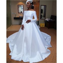 African Pure White Satin Wedding Dresses Plus Size Off The S