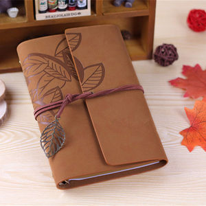 13*18.5cm vintage leaf faux Leather pirate cover travel journal 12 colors notebook