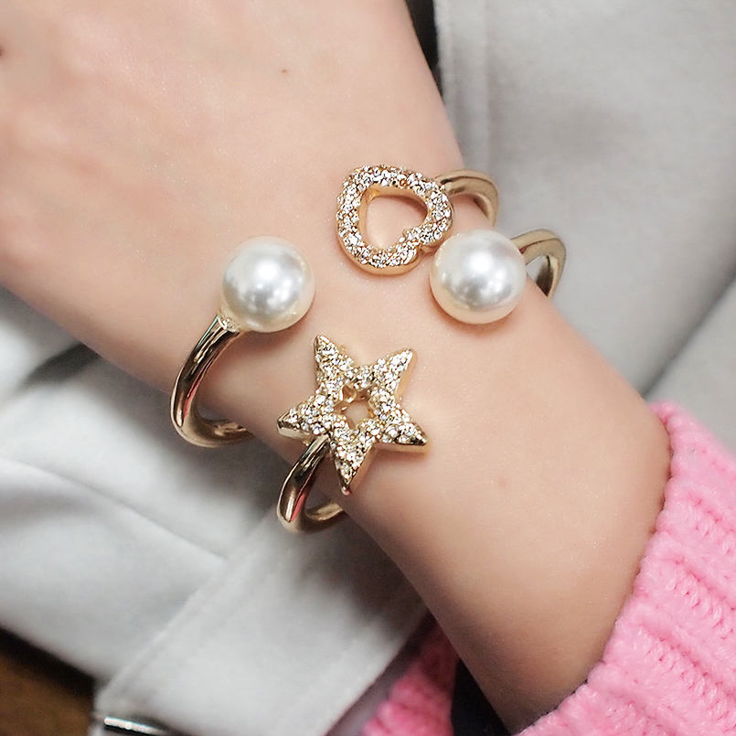 HANSIDON Elegant Pearl Star Cuff Bracelet for Women Charm Metal Heart Rhinestone Bracelet Bracelet Fashion Jewelry