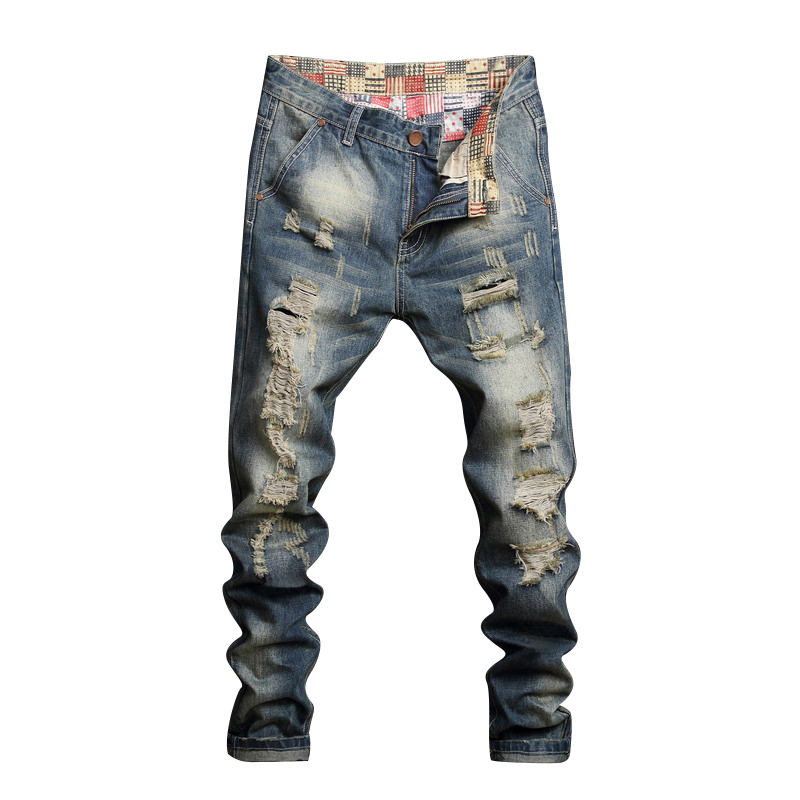 2019 blue denim ripped damaged urban star men's jeans pants crush jeans
