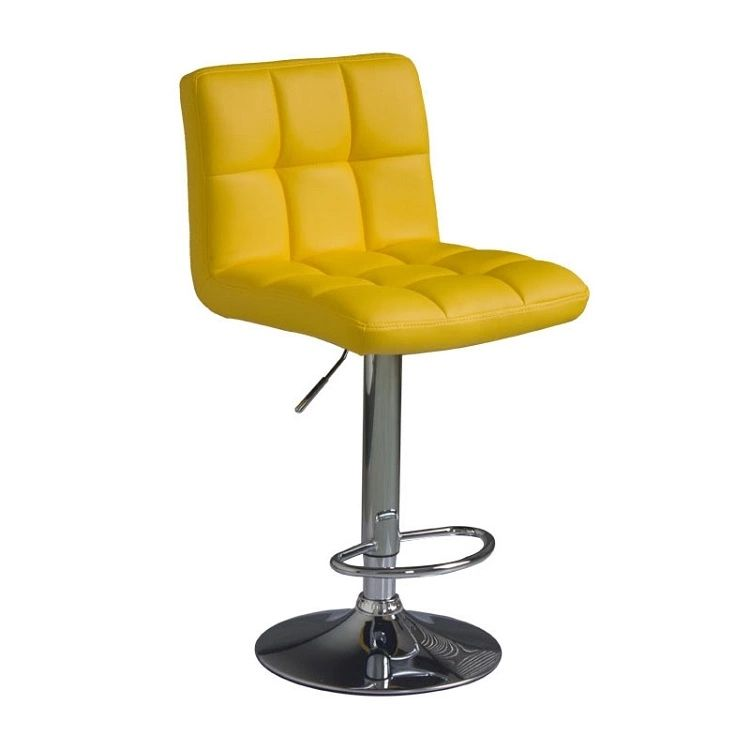 Modern Square PU Leather Adjustable Bar Stools with Back,Set of 2,Counter Height Swivel Stool (Yellow)