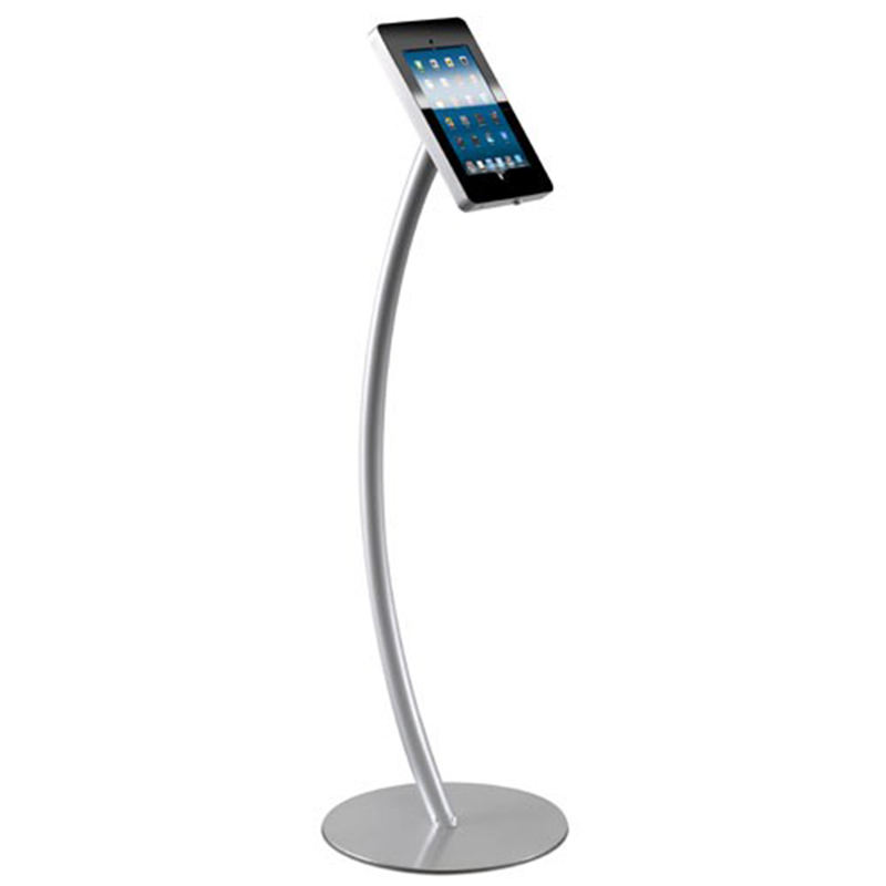 Anti Roubo IPA-C Ajustável Curvo Metal Floor Standing Publicidade Tablet Display Stand Holder para 7