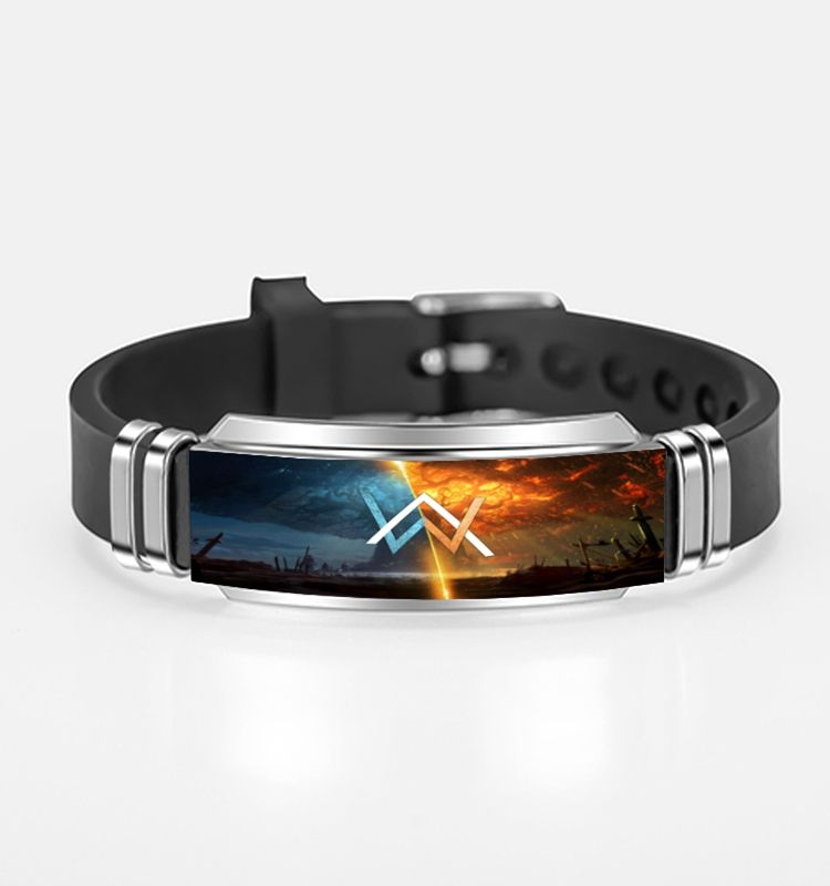 DJ Alan Walker Sign Logo Custom Stainless Steel Black Silicone Wristband Adjustable Bangle Bracelet
