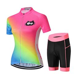 Wholesale Custom Cat Women's Cycling Jersey & Shorts Set 3D Padded Short Sleeve Bike Shirt Bicycle Clothing