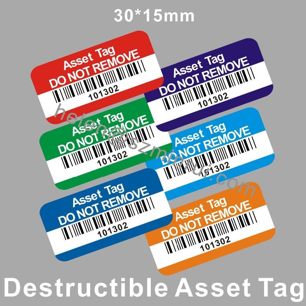Custom Tamper Proof Asset Tagging Stickers,Property of Company with Bar Code Printing for Tracing Labels