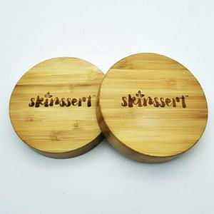70/400 bamboo wooden lid for jar and bottle with embossed logo