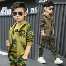 2019 new hot popular wholesale big children spring autumn camouflage sports military uniform three-piece boys clothing set