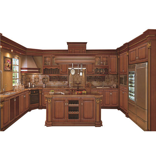 China Factory 100% Customized Classic Solid Wood Kitchen Cabinet
