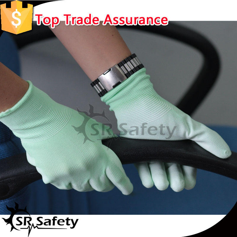 SRSAFETY pu coated safe electrical hand gloves/lady gloves
