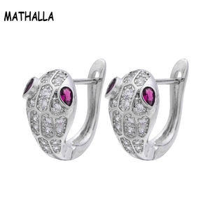 Bes Jewelry Micro Pave CZ Stone Snake Stud Earring Clip Women Girls White Gold Plated Cubic Zircon Earring Orecchini