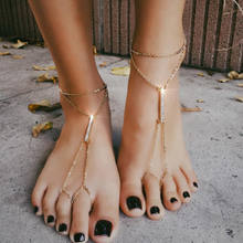 Newest Barefoot Sandals Fashion Foot Chain Jewelry Anklet With Toe Ring In Body Jewelry Foot